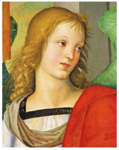 Raffaello, Busto d'angelo (dalla Pala Baronci), olio su tavola, 1500-1501. Brescia, Pinacoteca Tosio Martinengo